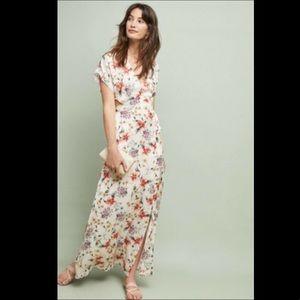 Anthropologie Satin Floral Open Back Hem Dress L
